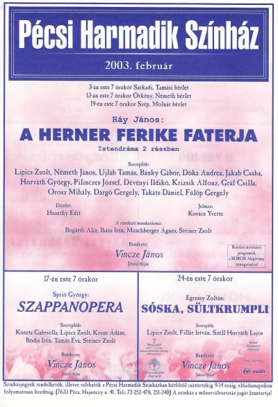 Pécsi Harmadik Színház műsora