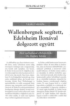 Wallenbergnek segített, Edelsheim Ilonával dolgozott együtt - újságcikk