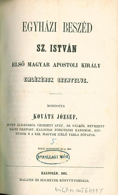 Egyházi beszéd Sz. István első magyar apostoli király emlékének szentelve