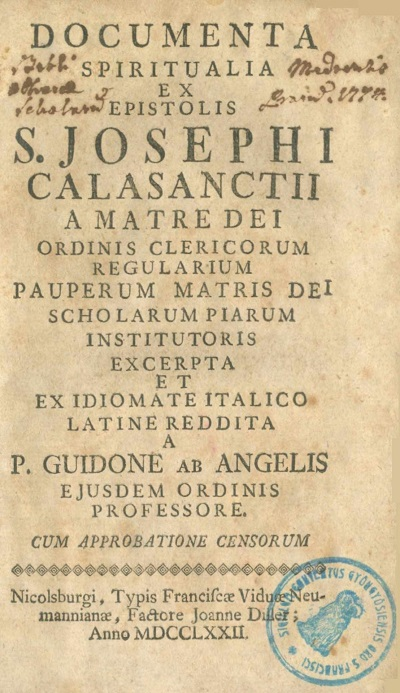 Documenta spiritualia ex epistolis S. Josephi calasanctii a matre dei