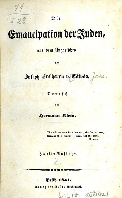 Die Emancipation der Juden aus dem ungarischen des Joseph v. Eötvös