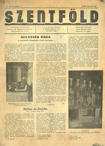 Szentföld - 1940