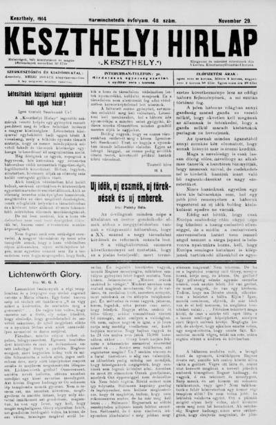 Keszthelyi Hírlap 1914.11.29.