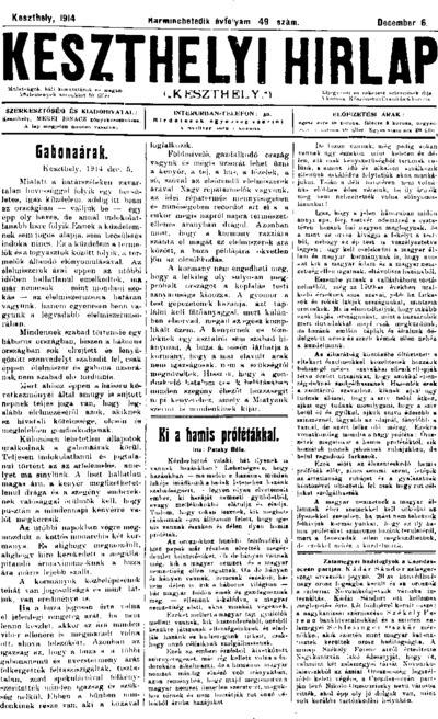 Keszthelyi Hírlap 1914.12.06.