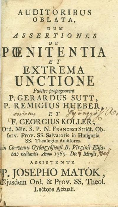 Auditoribus oblata, dum assertiones de poenitentia et extrema unctione