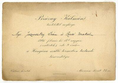 Meghívó Brázay Kálmán táncestélyére, 1901