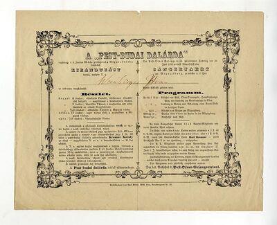 A Pest-Budai Dalárda meghívója kirándulásra, 1858