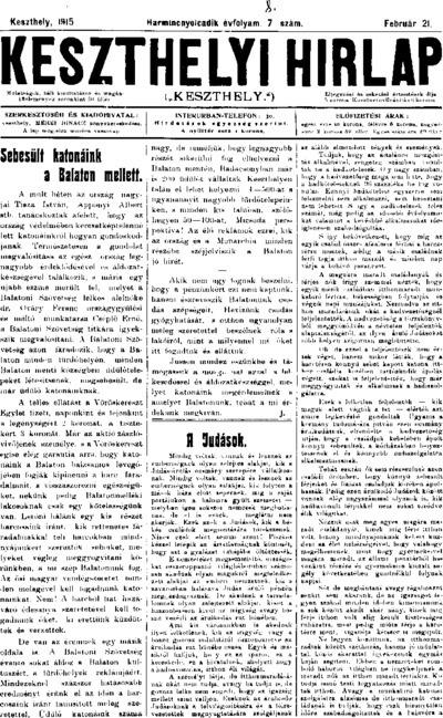 Keszthelyi Hírlap 1915.02.21.