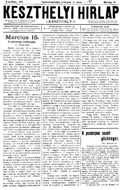 Keszthelyi Hírlap 1915.03.14.