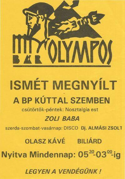 Olympos Bár – ismét megnyílt
