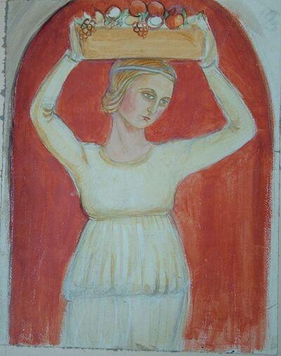 Gyümölcsvivő lány - Falikerámia-terv