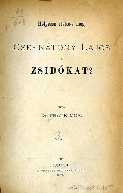 Helyesen itélte-e meg Csernátony Lajos a zsidókat?