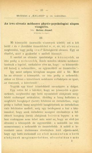 Az írva-olvasás módszere physio-psychologiai alapon vizsgálva III.
