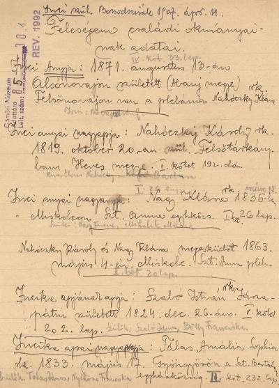 Származási táblázat, kézirat