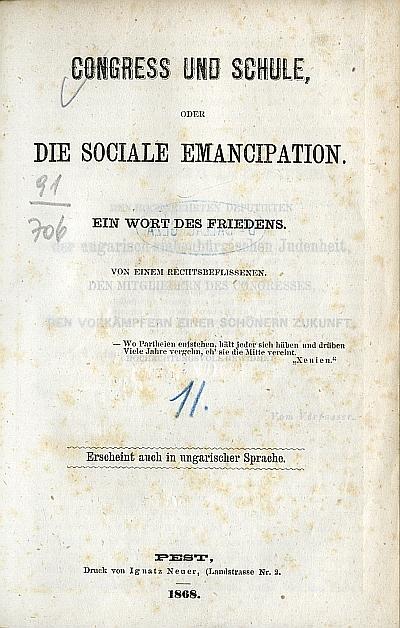 Congress und Schule, oder die Sociale Emancipation
