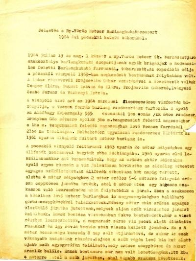 Jelentés a Bp. Vörös Meteor Barlangkutató Csoport 1964. évi pócsakői kutató táboról