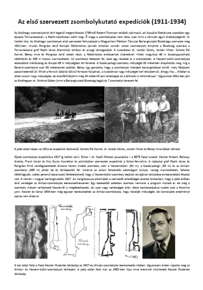 Az első szervezett zsombolykutató expedíciók (1911-1934)