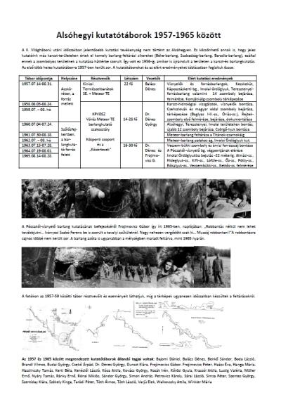 Alsó-hegyi kutatótáborok 1957-1965 között