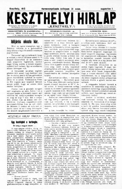 Keszthelyi Hírlap 1915.08.01.