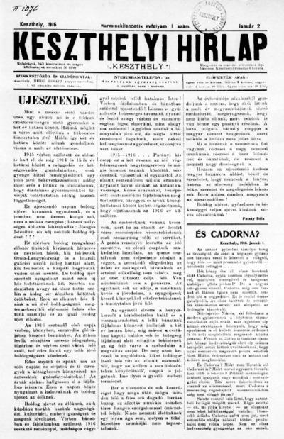 Keszthelyi Hírlap 1916.01.02.
