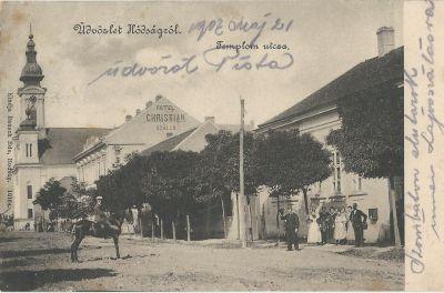 Keresztény Szálloda - képeslap, Hódság, 1902