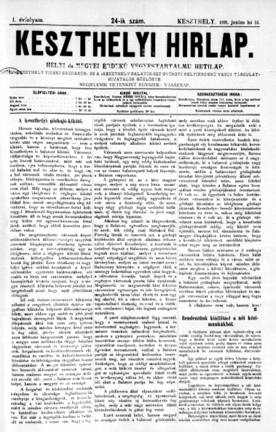 Keszthelyi Hirlap 1891.06.14.