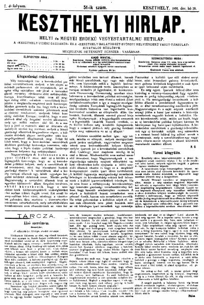 Keszthelyi Hirlap 1891.12.20.