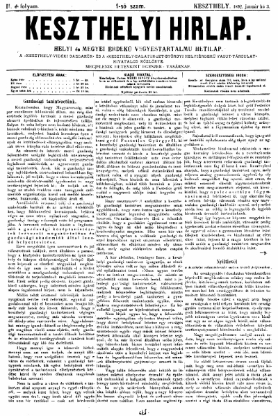 Keszthelyi Hirlap 1892.01.03.