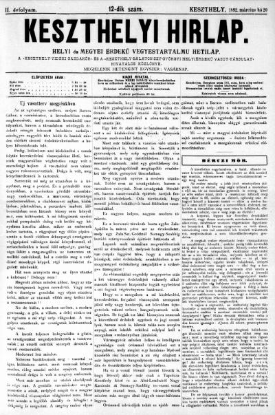 Keszthelyi Hirlap 1892.03.20.