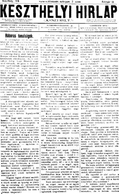 Keszthelyi Hírlap 1916.02.13.