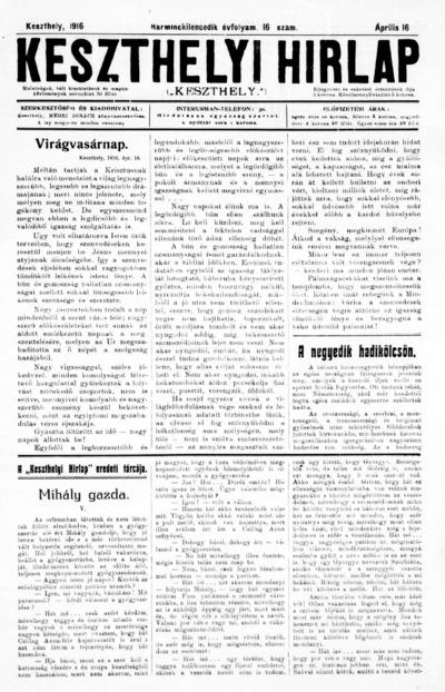 Keszthelyi Hírlap 1916.04.16.