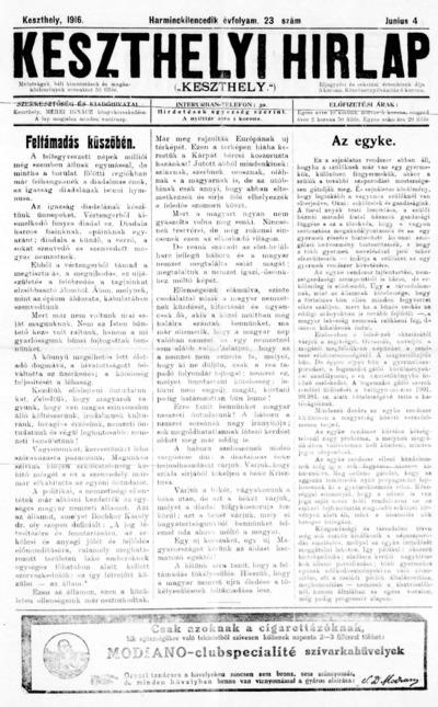 Keszthelyi Hírlap 1916.06.04.