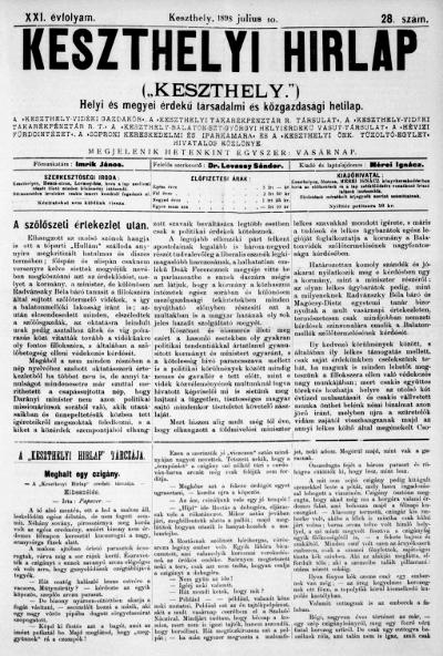 Keszthelyi Hirlap 1898.07.10.