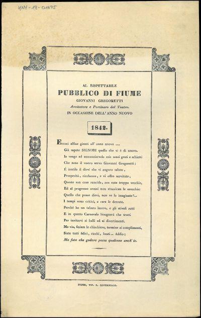 Al rispettabile Pubblico di Fiume in occasione dell' anno nuovo 1842.