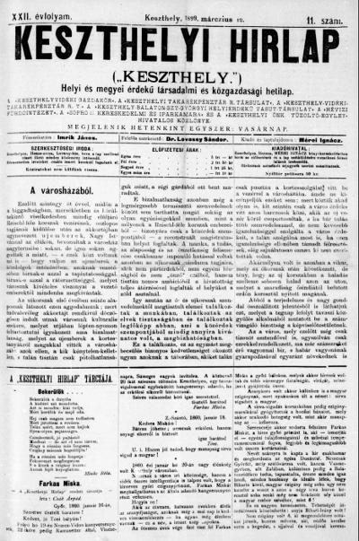 Keszthelyi Hirlap 1899.03.12.