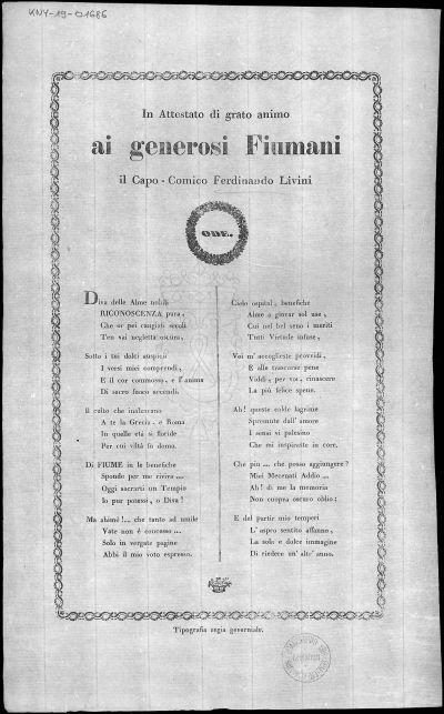 In attestato di grato animo ai generosi Fiumani il capo-comico Ferdinando Livini