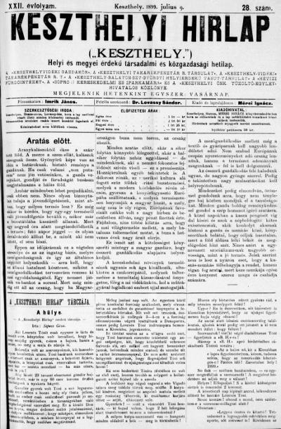 Keszthelyi Hirlap 1899.07.09.