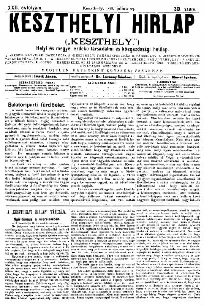 Keszthelyi Hirlap 1899.07.23.