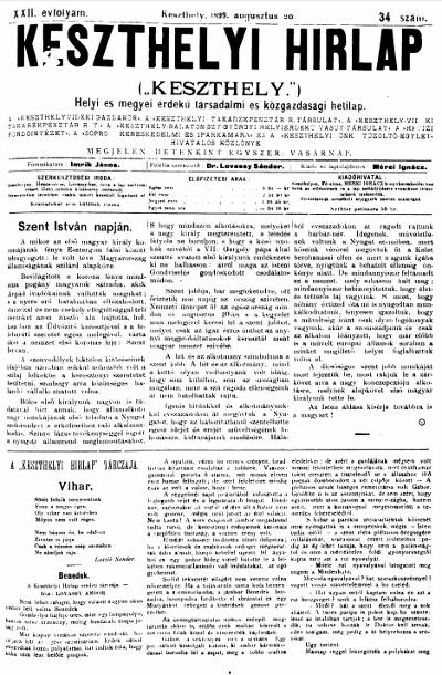Keszthelyi Hirlap 1899.08.20.