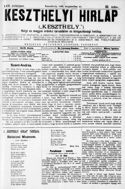 Keszthelyi Hirlap 1899.08.27.