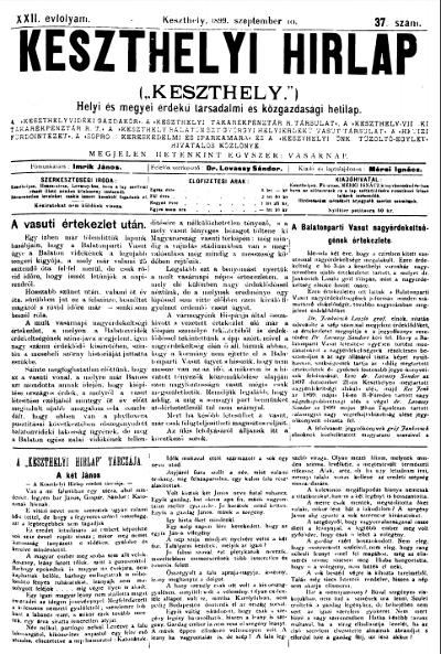 Keszthelyi Hirlap 1899.09.10.