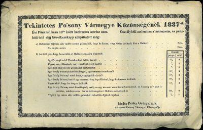 Tekintetes Po'sony vármegye közönségének 1837-ik évi Pünkösd hava 12-én költt határozata szerént ezen osztálybéli malomban a' malomvám, és pénzbéli örlő dijj következőképp állapittatott meg ...