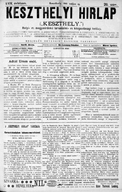 Keszthelyi Hirlap 1901.05.19.