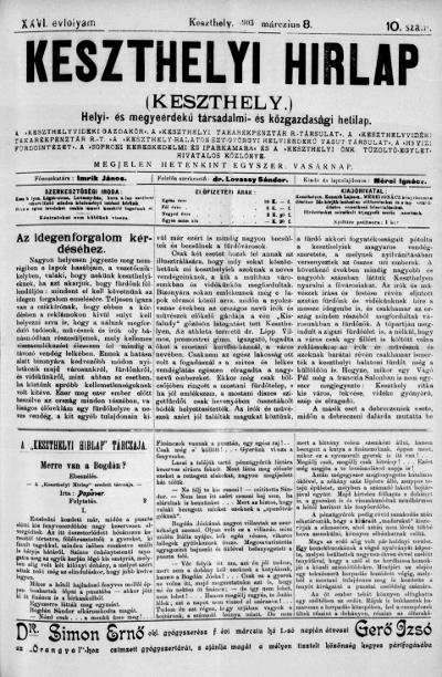 Keszthelyi Hirlap 1903.03.08.