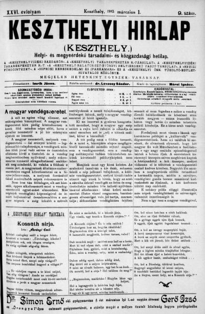 Keszthelyi Hirlap 1903.03.01.