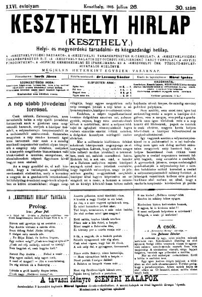 Keszthelyi Hirlap 1903.07.26.