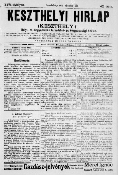 Keszthelyi Hirlap 1903.10.18.
