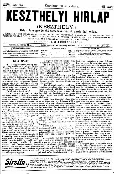 Keszthelyi Hirlap 1903.11.08.