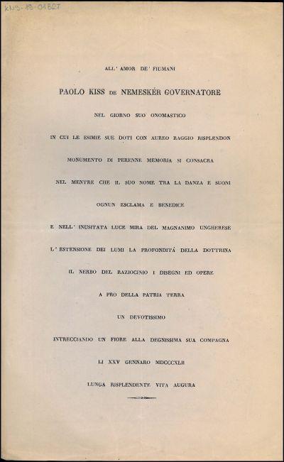 All' amor de' Fiumani Paolo Kiss de Nemeskér governatore nel giorno suo onomastico ..
