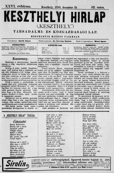 Keszthelyi Hirlap 1903.12.25.
